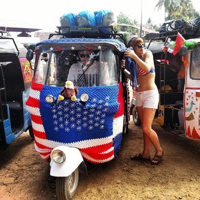 American flag drapped Rickshaw