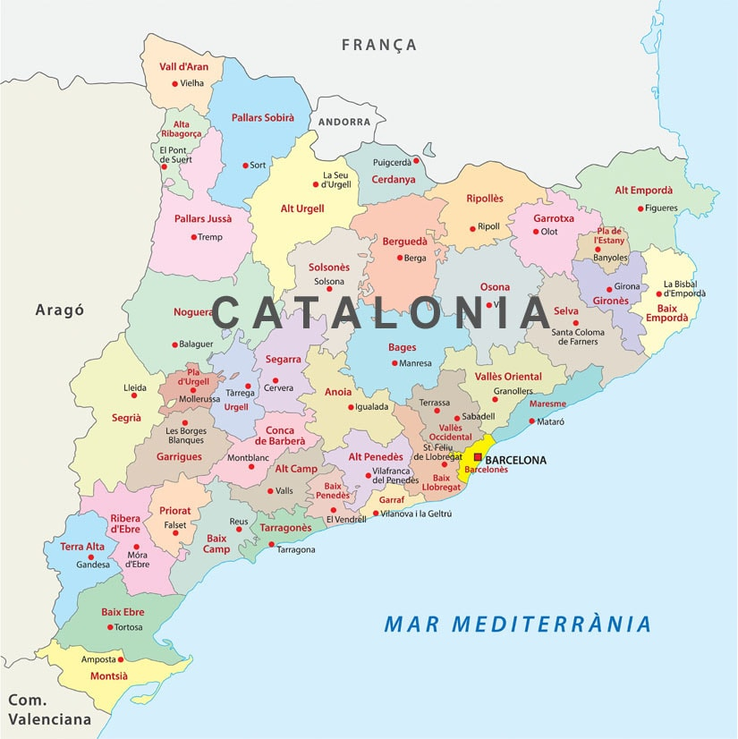 Map Of Spain And Catalonia.Travel To The Spanish Pyrenees