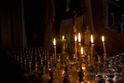 Candles inside the church