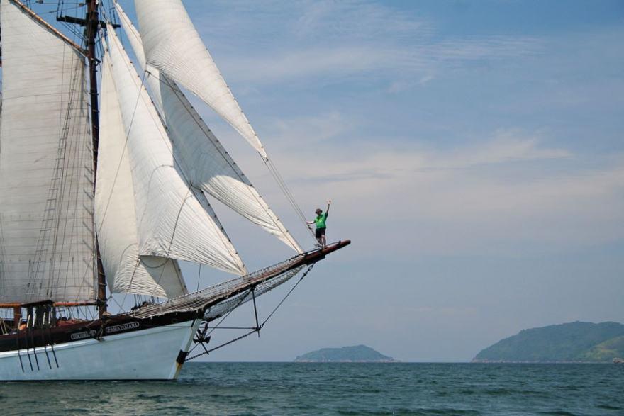 small ship cruising Brazil