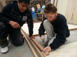 Megan volunteering and learning to build a house