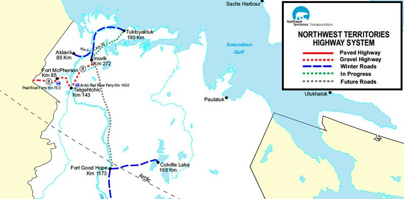 ice road map arctic adventure
