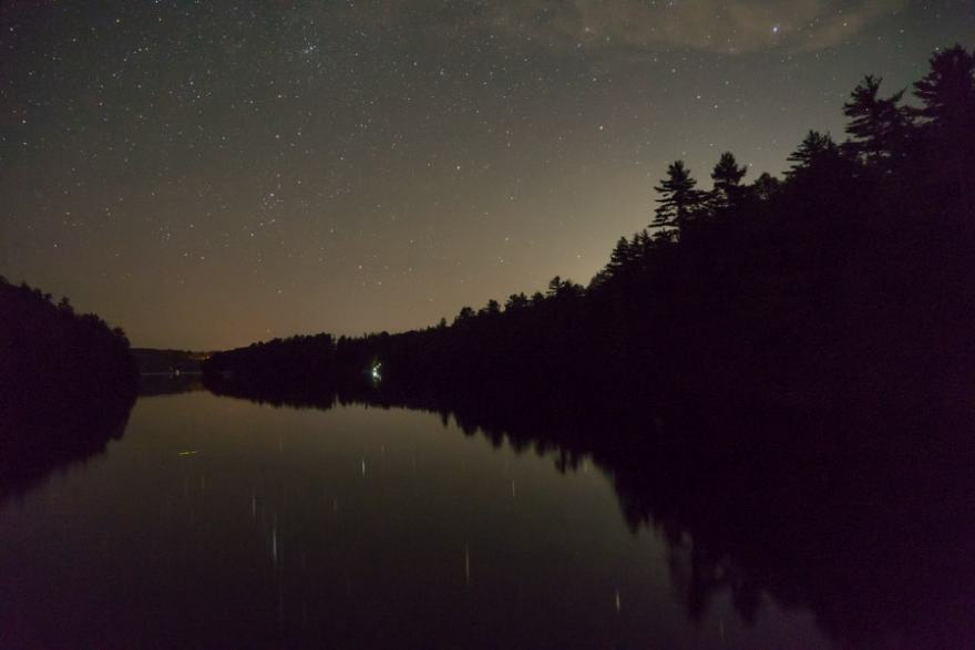 night photography houseboat
