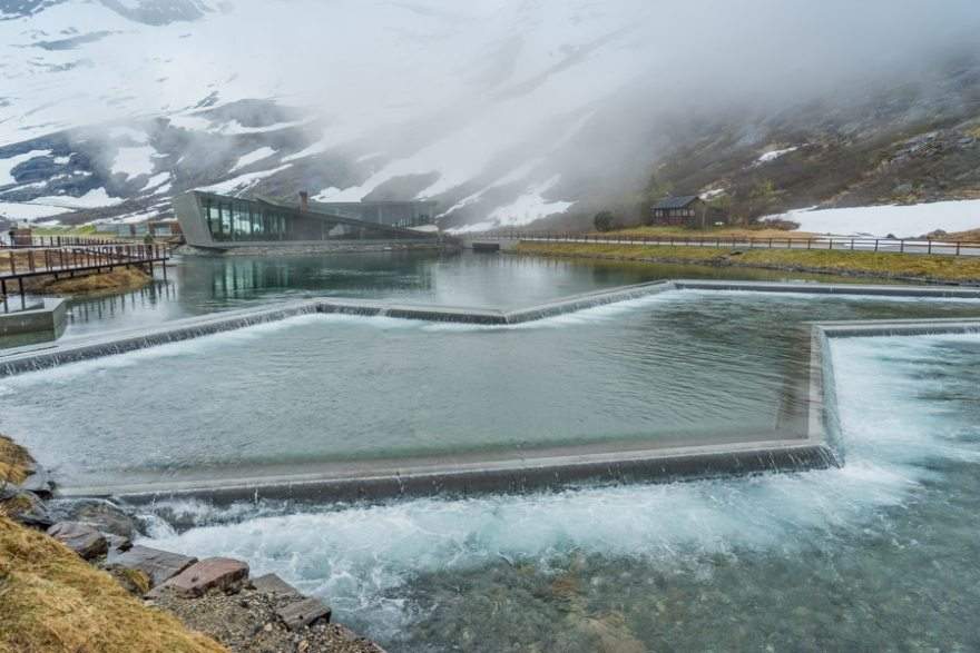 Trollstigen road visitor center and man-made part of the river