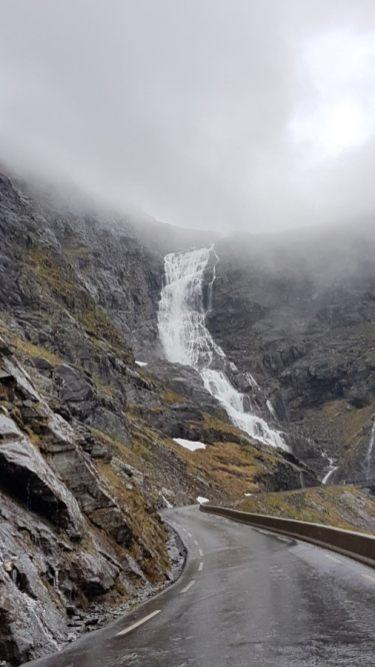 Waterfall and fog in Trollstigen Norway