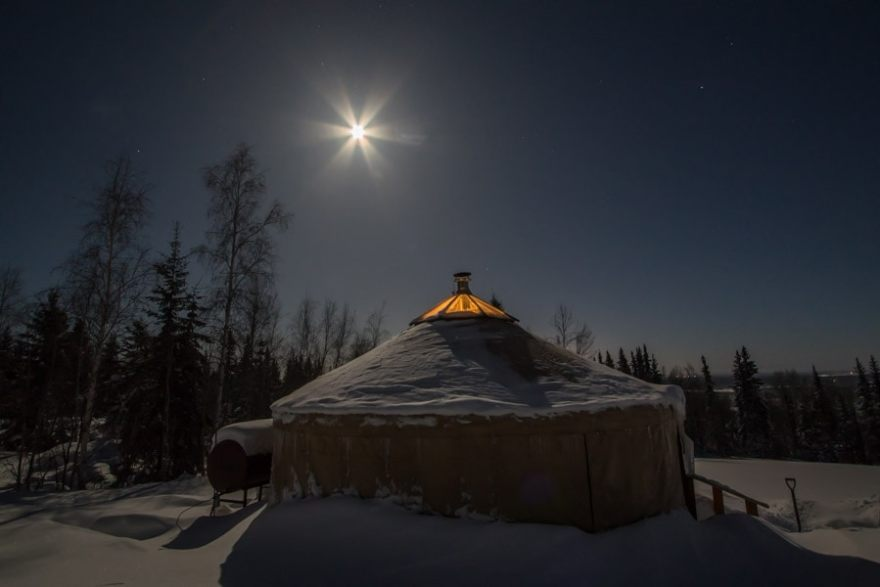 A Taste of Alaska Lodge Yurt, for some late night aurora viewing
