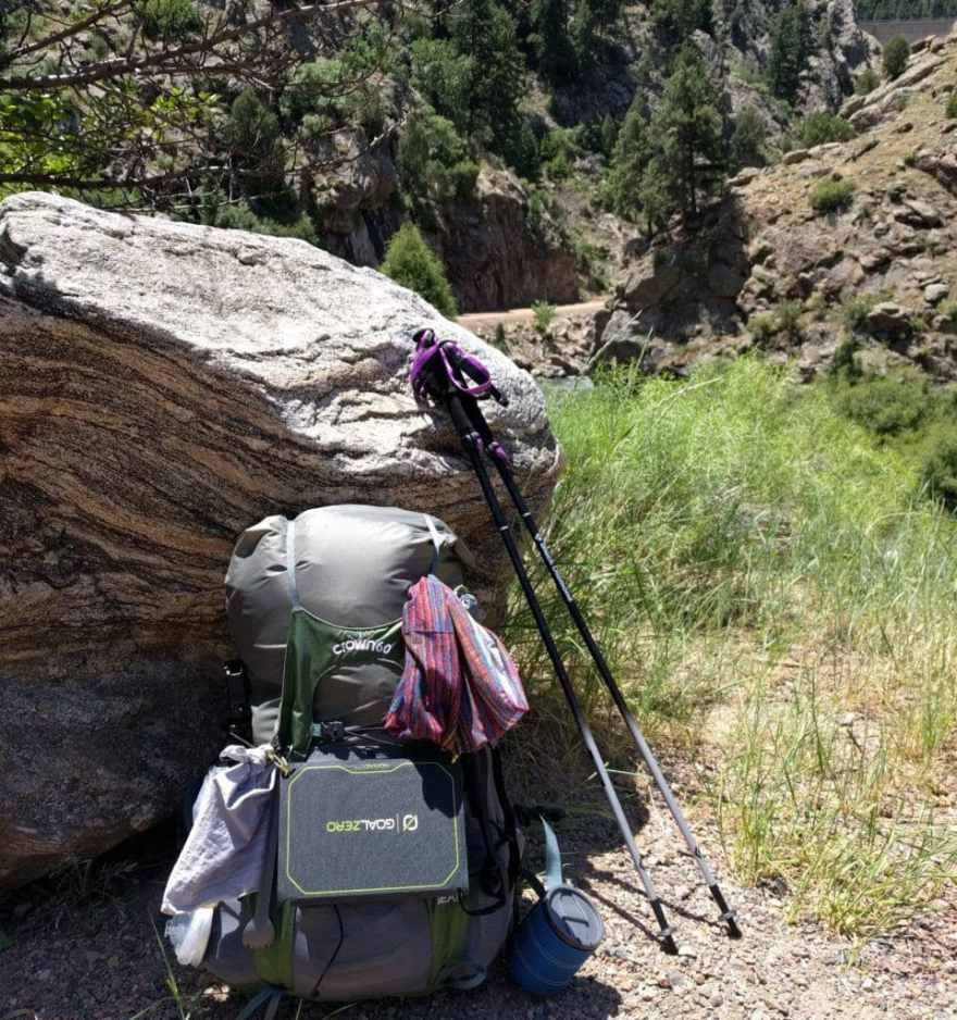 backpack and trekking poles on the Colorado Trail thru hike
