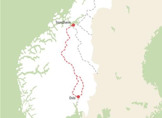 Gudbrandsdalen map pilegrimsleden walk