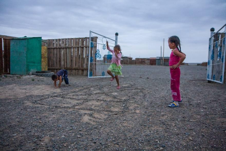 kids playing in the gobi desert mongolia