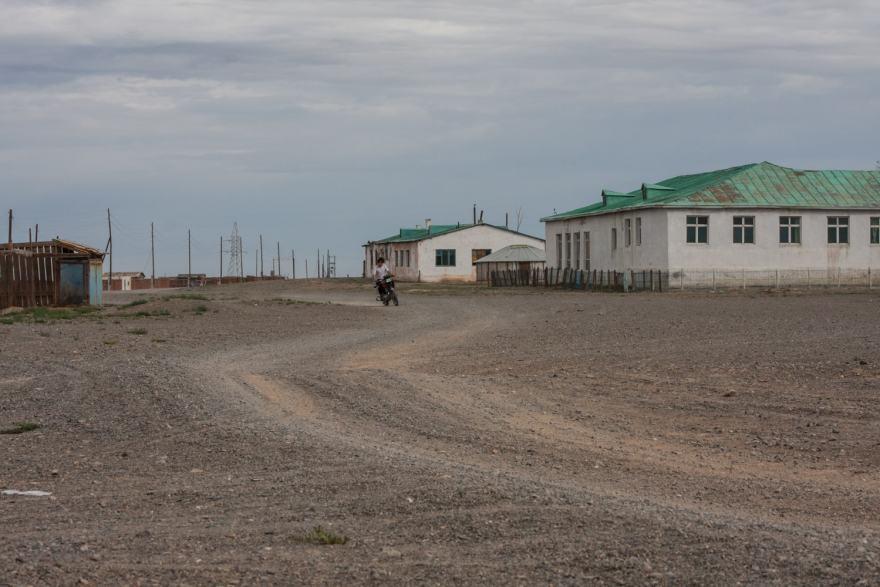 road through gobi desert village