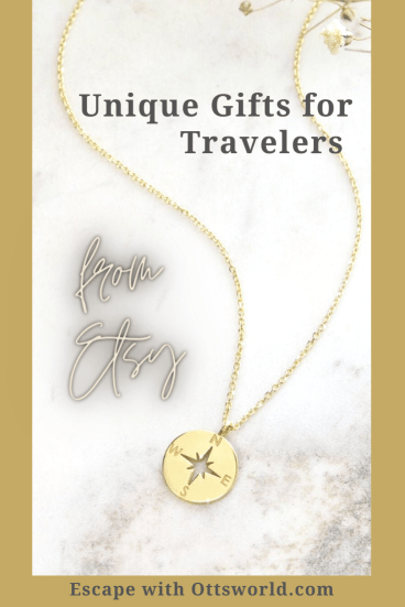 travel themed compass necklace