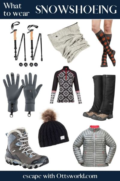 Collage of snowshoeing gear