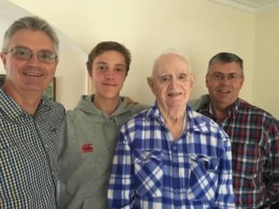Denis 90th 2016 with sons Ian and Neil Grandson Henry
