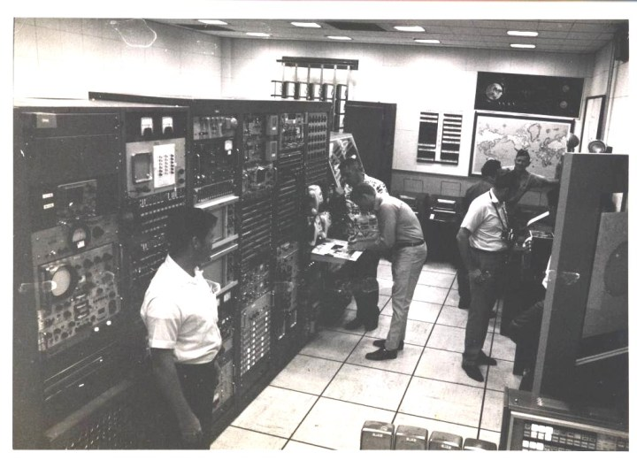 Neil Armstrong in Comm Center at Guam NASA Station