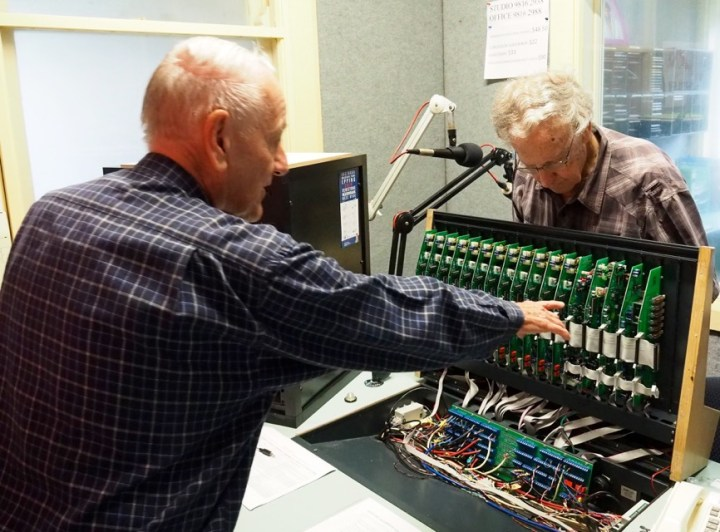 Laurie McIlree and Ray Alford Inspect the Panel and its Electronics