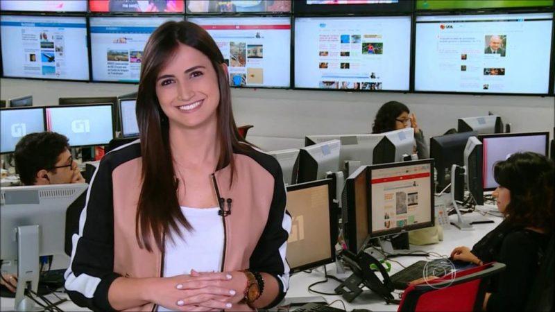 """A jornalista Mari Palma no """"G1 em 1 Minuto"""" (Foto: Reprodução/Globo)"""