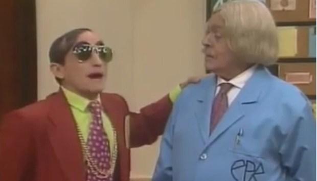 Zé Modesto com Chico Anysio na Escolinha do Professor Raimundo (Foto: Reprodução/Internet)