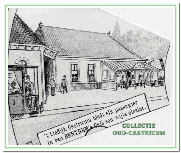 Foto van een tekening van café 'De Vriendschap' zoals die voorkomt in een destijds uitgegeven bordspel, het stoomtramspel, waaruit blijkt dat het café een halteplaats was voor de stoomtram.