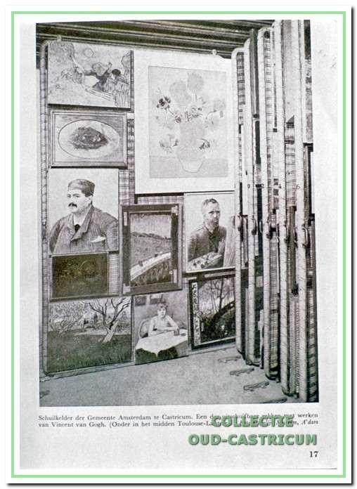Achterin de kluis de uitschuifbare rekken met schilderijen. Te herkennen zijn schilderijen van Van Gogh en in het midden op de onderste rij een werk van Toulouse-lautrec (foto Stedelijk Museum).