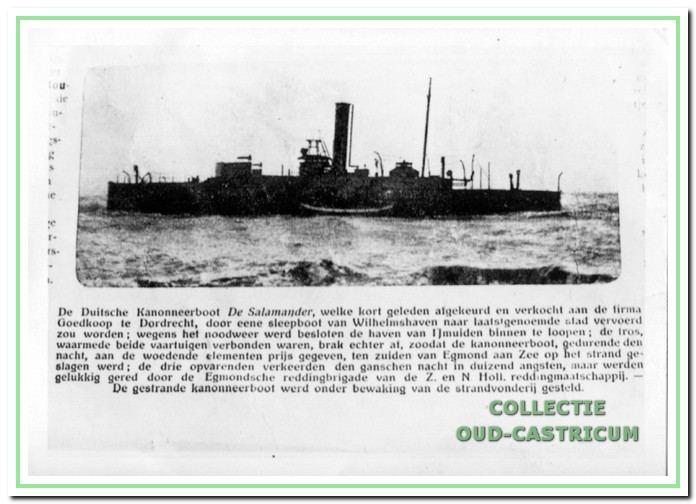 De Duitse kanonneerboot De Salamander in 1910.