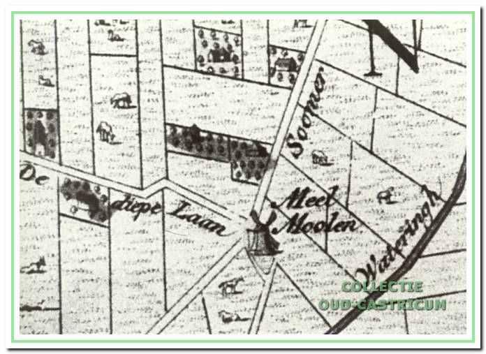 Fragment van de kaart van Rollerus uit 1737, waarop de meelmolen duidelijk staat aangegeven.