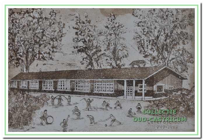 """Finse houten school """"Cunera"""" Gemaakt ter gelegenheid van het 40-jarig bestaan van de Cuneraschool in 1987."""