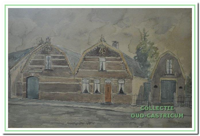 Aquarel geschilderd door Sijf Portegies in 1945, waarop van rechts naar links zijn afgebeeld een wagenberging (ongenummerd), het woonhuis Dorpsstraat 25 van Jan de Groot, brandstoffenhandelaar, en een loods voor kolenopslag, Dorpsstraat 27.