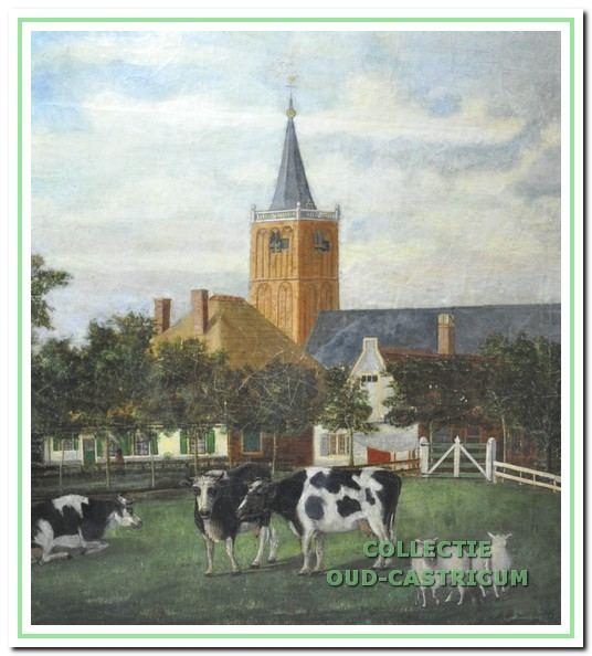 Dorpskerk, Nederlands hervormde kerk en zicht op de Overtoom met boerderij Knophuis?