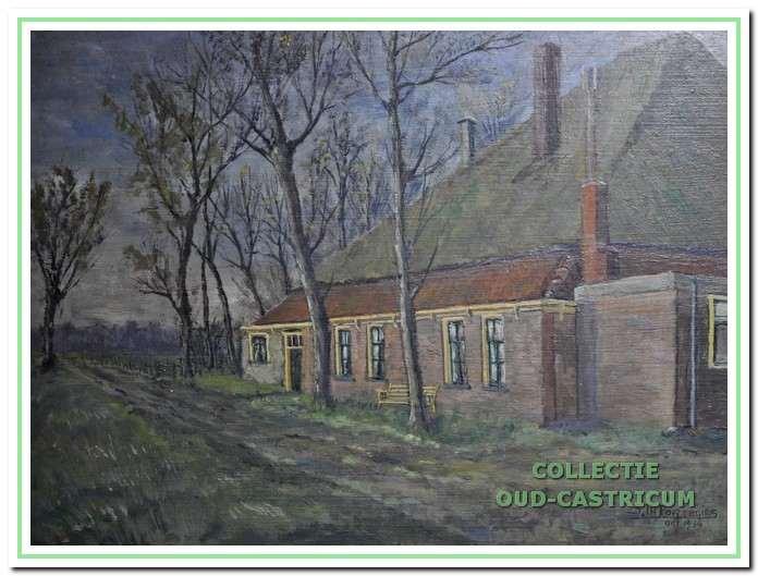 Schilderij van de oude boerderij Heemstede aan de Korendijk van Sijf Portegies.