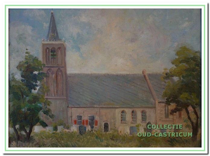 Nederlands hervormde kerk (dorpskerk), gezien vanaf de Overtoom in Castricum, 1948.