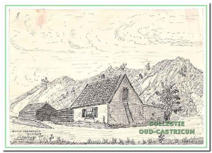 De armoede uitte zich ook in de huisvesting, zoals hier afgebeeld door Sijf Portegies: een armelijk huisje aan het duin, waar de familie Verdwaald woonde. De kinderen sliepen op de bovenverdieping, die alleen via een ladder te bereiken was.