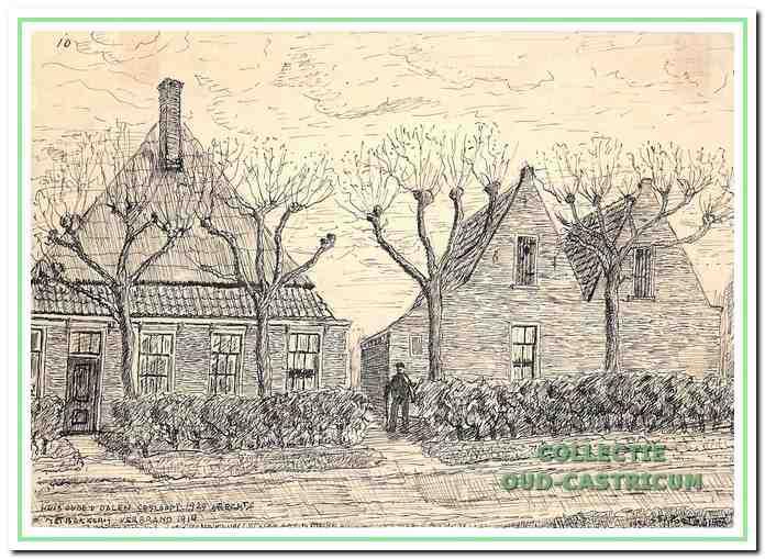 Tekening door Sijf Portegies van het armenhuis, het huis met dubbel puntdak, dat in 1862 in gebruik is genomen en in 1912 plaats moest maken voor nieuwbouw. De boerderij links op de tekening was in gebruik als bakkerij en is later afgebrand, waarschijnlijk in 1911.