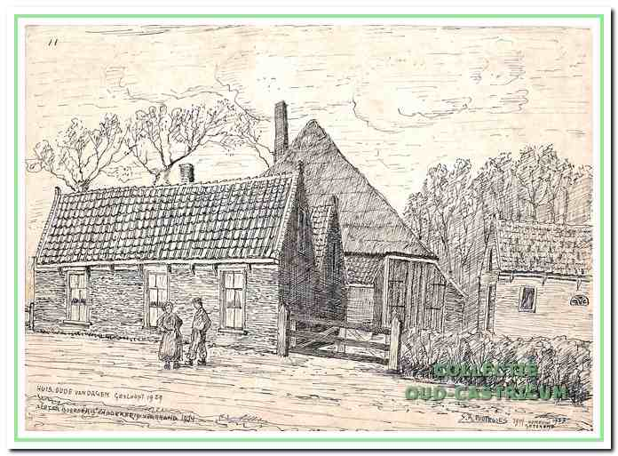 Het eerste Castricumse armenhuis - met het dubbele puntdak - naar een tekening van Sijf Portegies. Het werd in 1911 gesloopt. In de boerderij op de achtergrond en het naastgelegen schuurtje was een bakkersbedrijf gevestigd, dat ca. 1911 door brand werd verwoest.