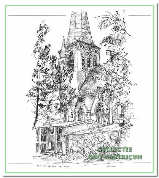 De Pancratiuskerk, gezien vanuit het zuidoosten. Pentekening van Nico Lute.