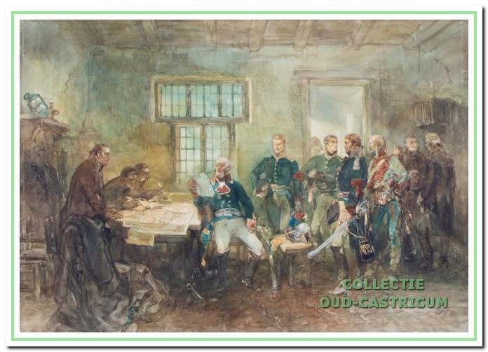 Prins Willem Frederik van Oranje-Nassau en Maréchal d'Empire Guillaume Brune samen met een Russisch generaal te Castricum in 1799.