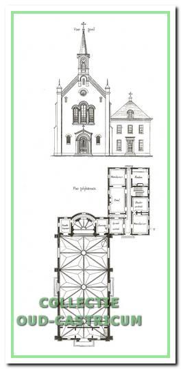 Vooraanzicht en plattegrond uit de bouwtekeningen van kerk en pastorie, zoals gepubliceerd in 1860 in de periodiek 'Bouwkundige Bijdragen'.