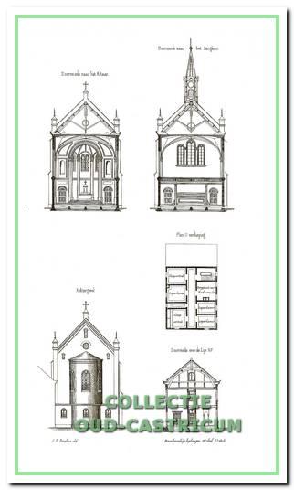 Diverse dwarsdoorsneden en achteraanzicht uit de bouwtekeningen van kerk en pastorie, zoals gepubliceerd in 1860 in de periodiek 'Bouwkundige Bijdragen'.