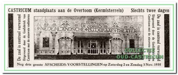 De Jong's biograaftheater maakt bekend dat op 2 en 3 november 1935 afscheidsvoorstellingen worden gegeven op het kermisterrein aan de Overtoom.