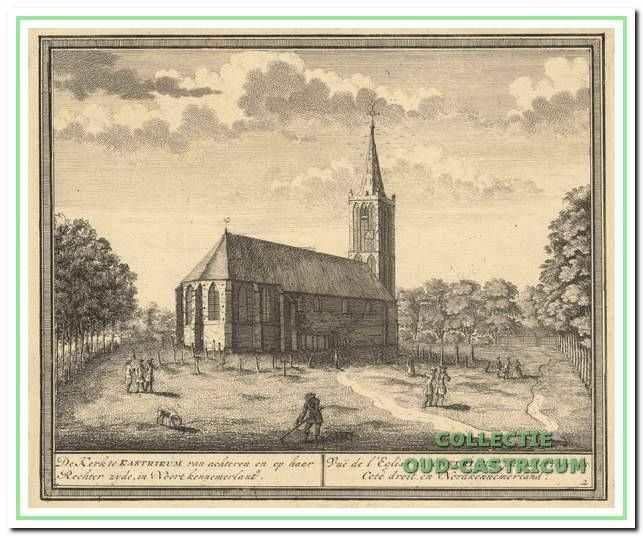 De begraafplaats in het begin van de 18e eeuw rond de Dorpskerk (tekening van Hendrik de Leth in het boek 'Het Zegenpralent Kennemerlant', uitgegeven in 1732).