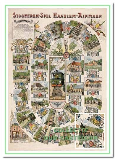 Het Stoomtramspel Haarlem-Alkmaar dat rond 1900 werd uitgebracht en waarop de deelnemers werden geattendeerd op attracties bezienswaardigheden langs het traject. Rechtsonder een detail met de afbeelding van café De Vriendschap.