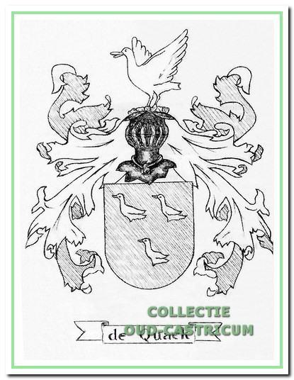 """Het wapen """"de Quack"""" (zie afbeelding) wordt gevormd door drie zilveren kwakken (= eenden) op een groen veld; de poten en de snavels zijn zwart, maar mogen ook rood zijn."""