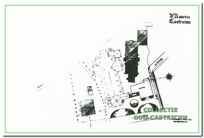 Situatieschets van de te slopen kerk en het geplande gebouw.