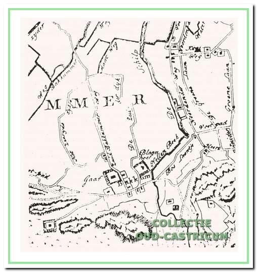 Het buitengoed Gaeff met de tegenoverliggende boerderij gescheiden door de Zuid-Bakkummerweg. Kaart van het Hoogheemraadschap van de Uitwaterende Sluizen plusminus 1670.