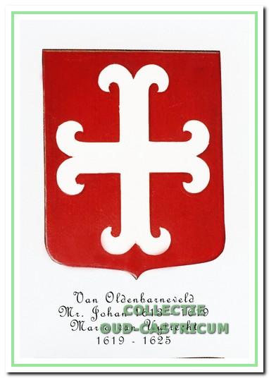 """Het wapen van Johan van Oldenbarnevelt """"zijnde in rood een zilveren ankerkruis""""."""
