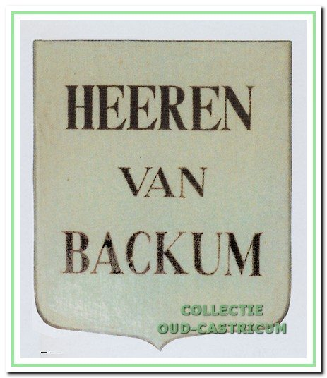 Wapen van Heeren van Backum, 1700