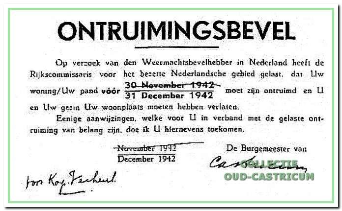 Het ontruimingsbevel waarmee veel inwoners van Castricum de laatste maanden van 1942 werden geconfronteerd.
