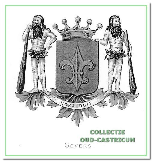 Het wapen van de familie Gevers sinds 1842 toen Abraham Gevers in de adelstand werd verheven. Vertaling van de wapenspreuk: 'de tijd gaat snel'.