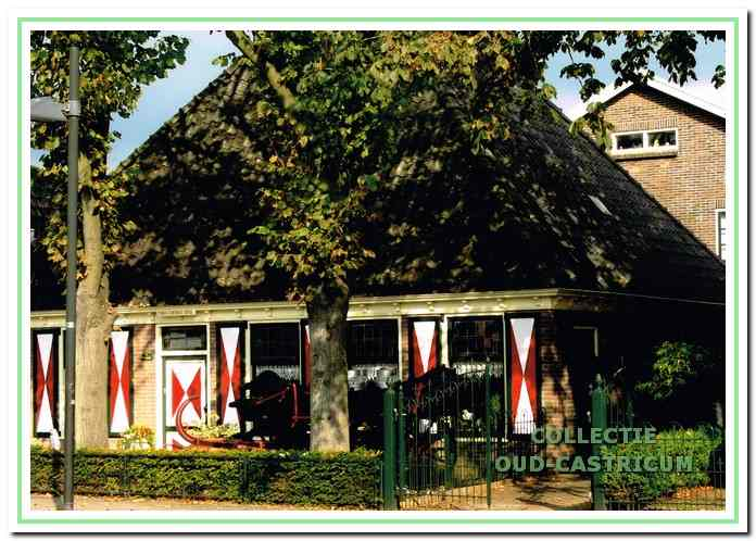 Paard en wagen, deels achter de boom en het hek in de voortuin van Jan Twisk, Dorpsstraat 11.