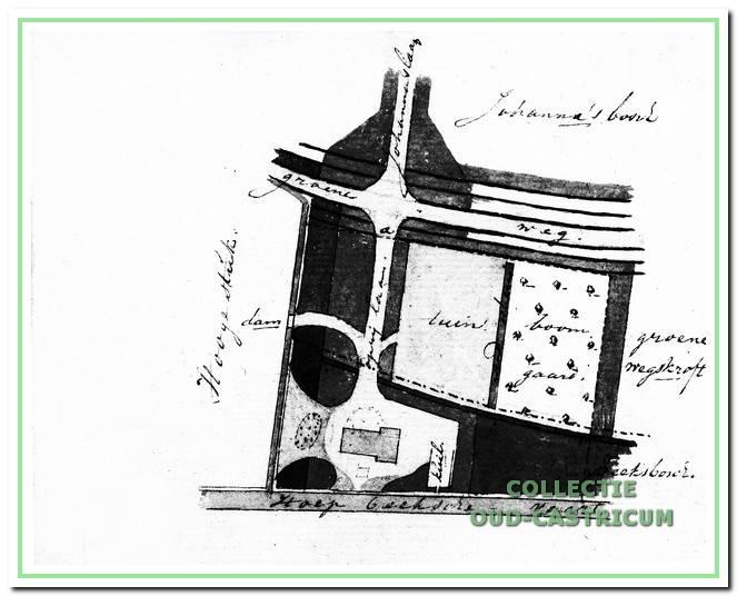 Plan voor de aanleg van erf en omliggende terrein rond de boerderij. Ook de Johanna's laan en Johanna's bosch worden genoemd.