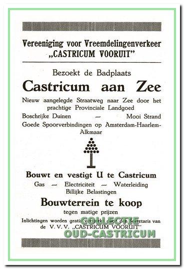 Advertentie uit de gids van de V.V.V. 'Castricum Vooruit' uitgegeven in 1925.